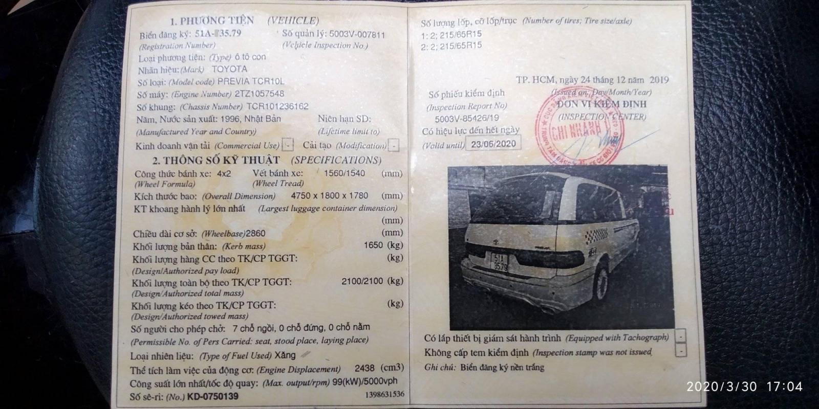 Bán xe Toyota Previa S.C đời 1996, màu trắng, xe nhập, 179 triệu